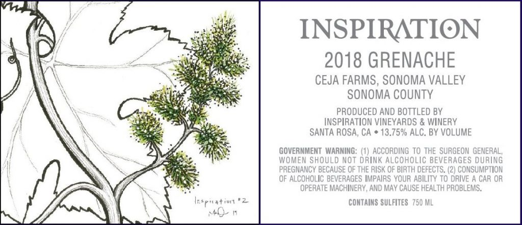 Wine Label - Inspiration Vineyards 2018 Grenache