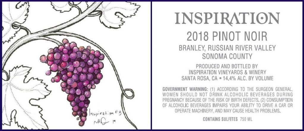 Wine Label - Inspiration Vineyards 2018 Pinot Noir