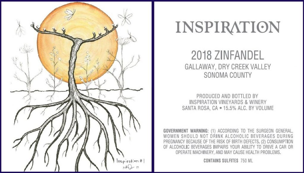 Wine Label - Inspiration Vineyards 2018 Zinfandel - Gallaway